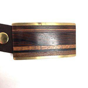 Kenneth Reid wooden belt buckle brown leather belt